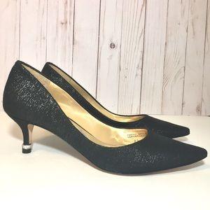 Badgley Mischka Black Sparkle Pointy Toe Heels 9.5